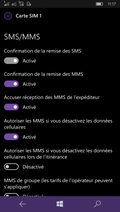 activer accuser reception windows mobile 10