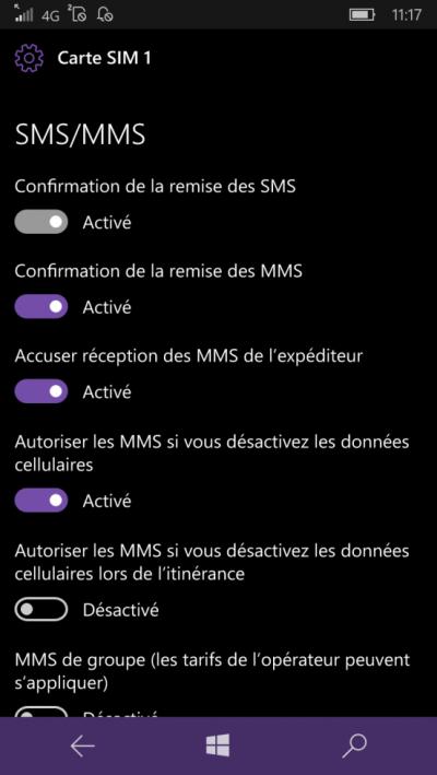 activer accuser reception windows mobile 10