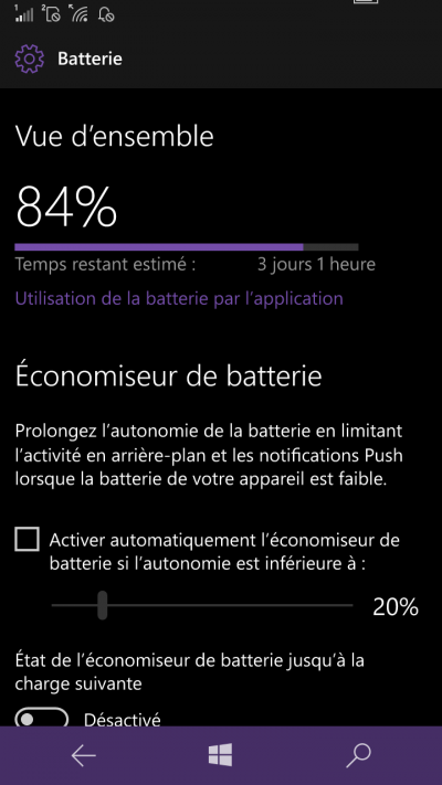 economiseur batterie windows mobile 10