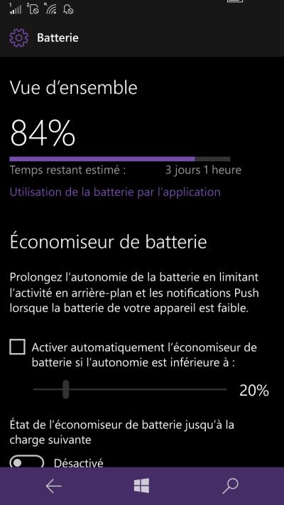 economiseur batterie windows mobile 10