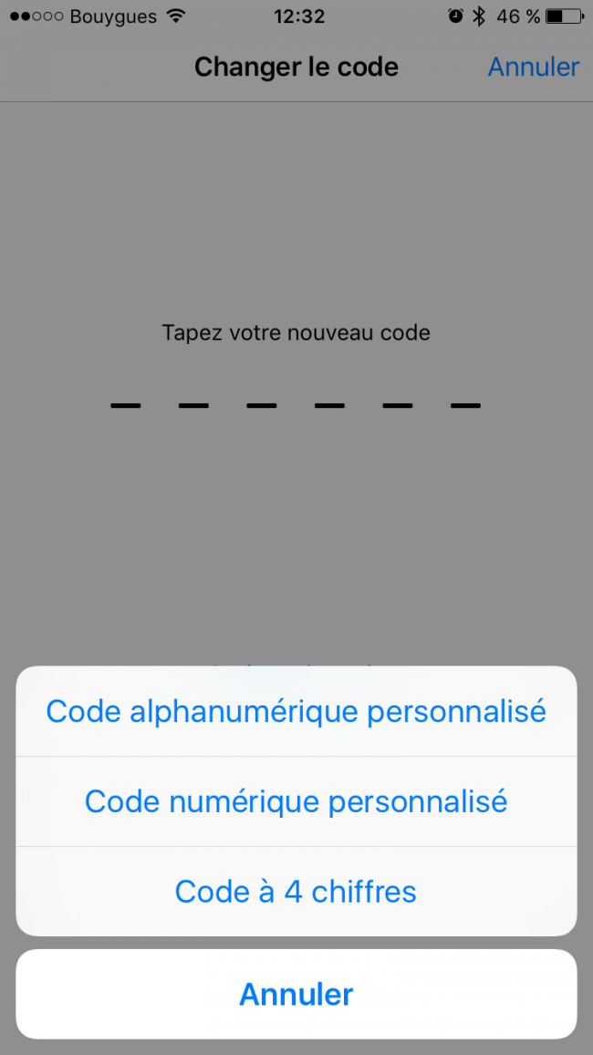 code pin 6 chiffres ios