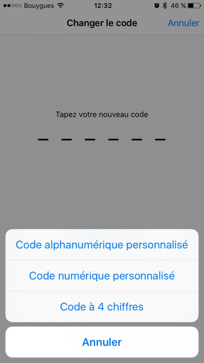code pin 6 chiffres ios