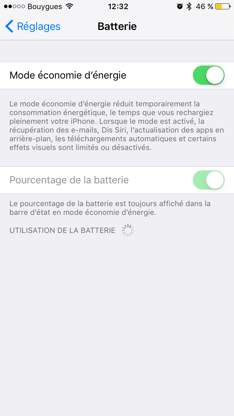 pourcentage batterie iOS