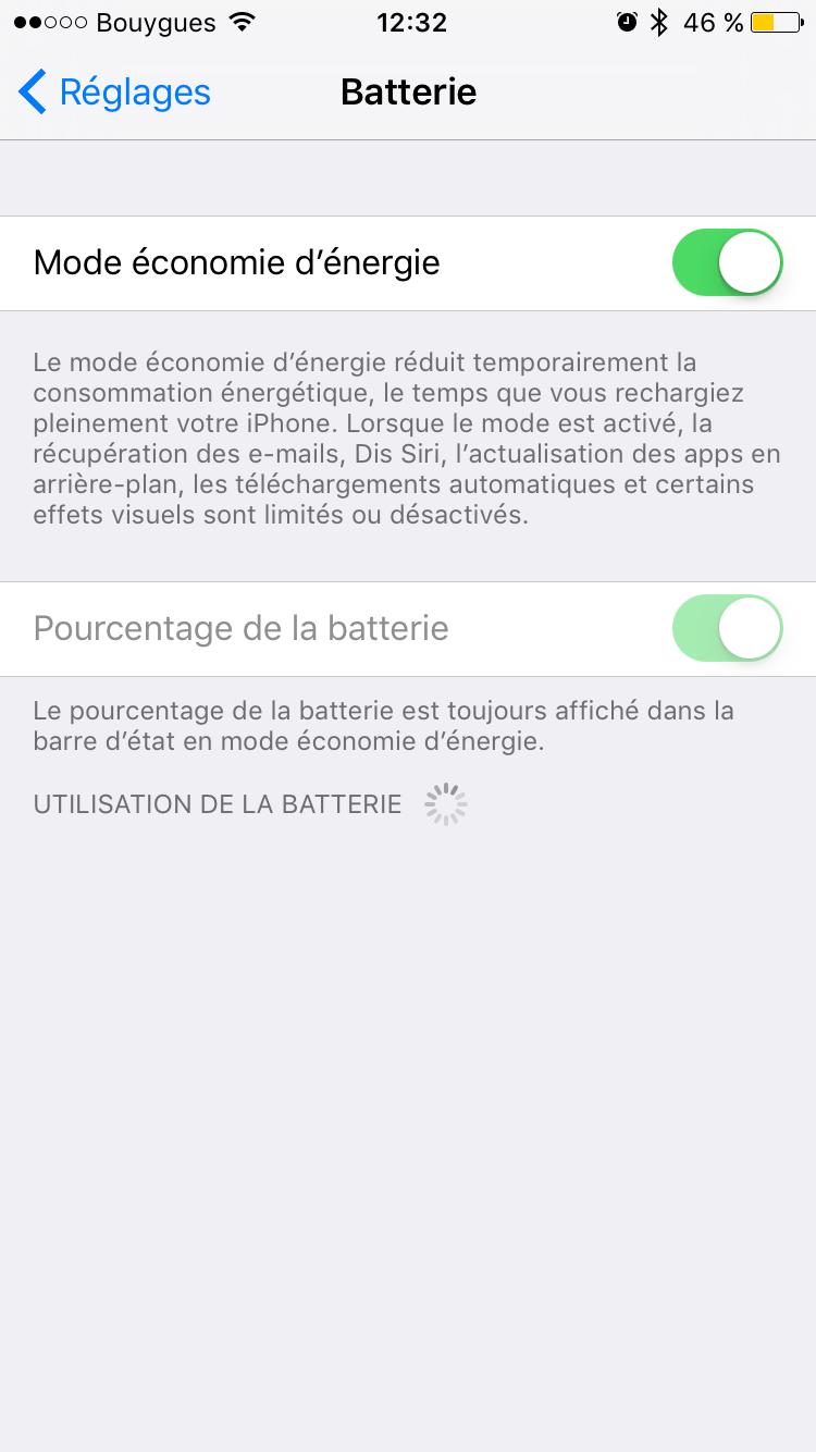 pourcentage batterie iOS