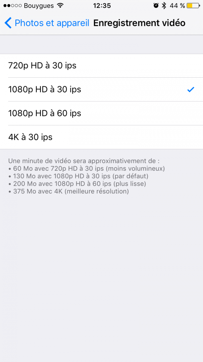 qualité video iOS