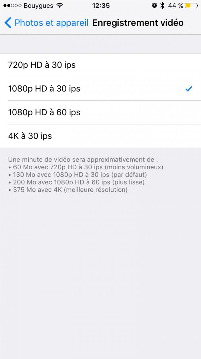 qualité video iOS