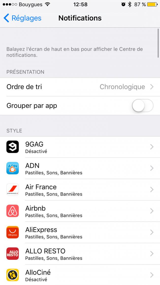 notifications iOs