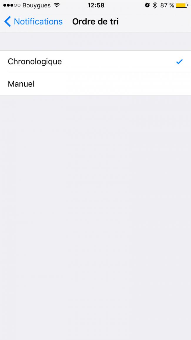 ordre de tri iOS