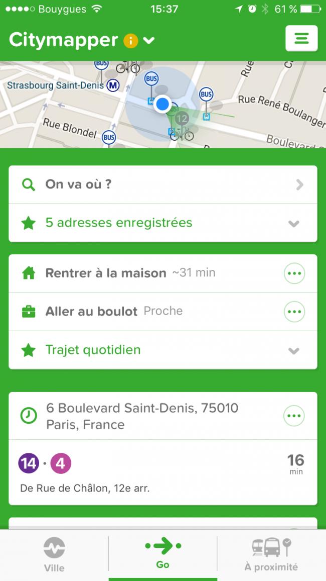 navigation CityMapper pour iOS