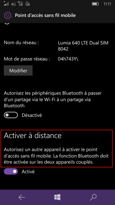 partage de connexion windows mobile 10