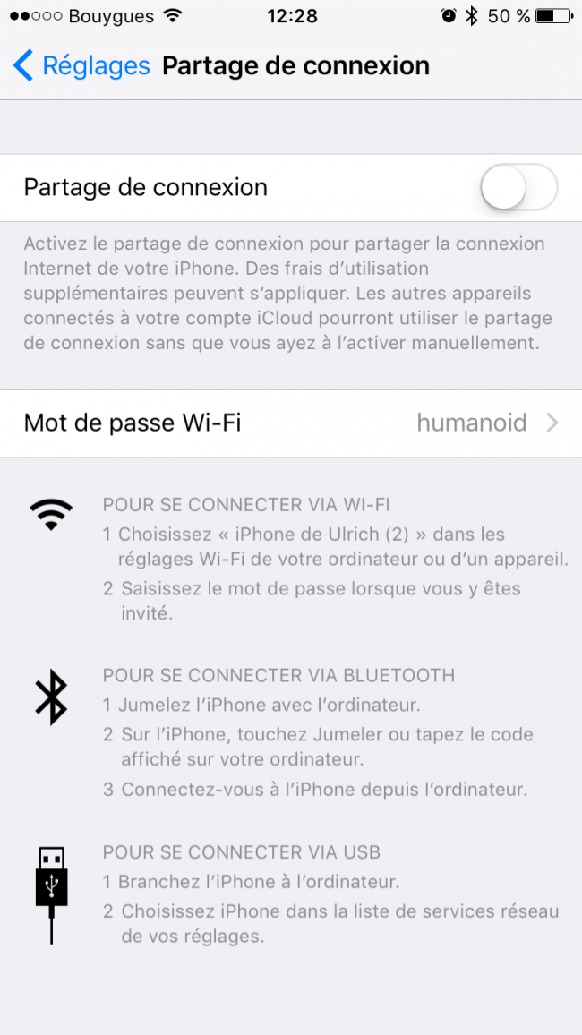 partage connexion iOS