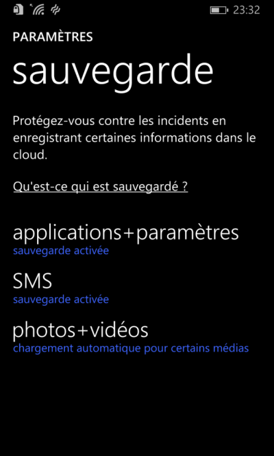 sauvegarde SMS Windows MObile 10