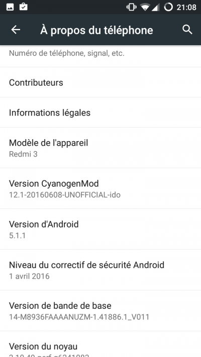 Android a propos