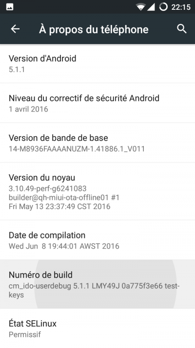 option developpeur android