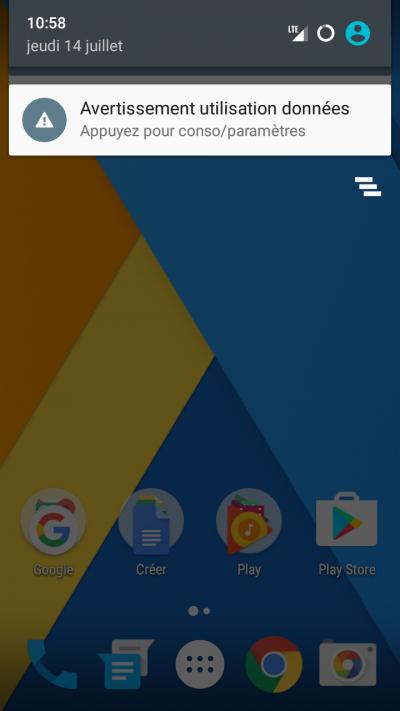 avertissement données android