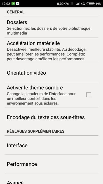réglages VLS pour Android