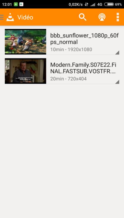 liste VLC sur Android