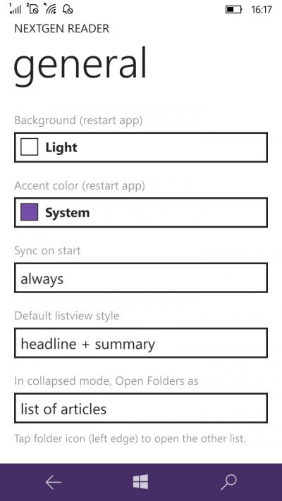 next gen reader settings