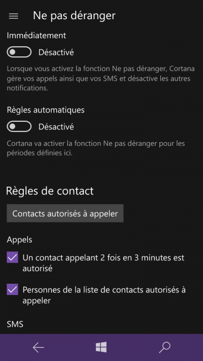 contact autorises windows mobile 10