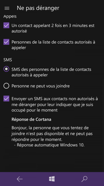 ne pas deranger windows mobile 10