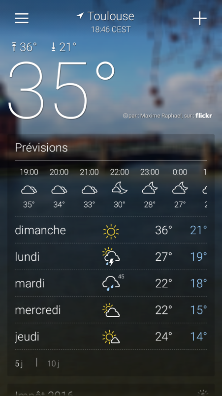 yahoo meteo toulouse pour android